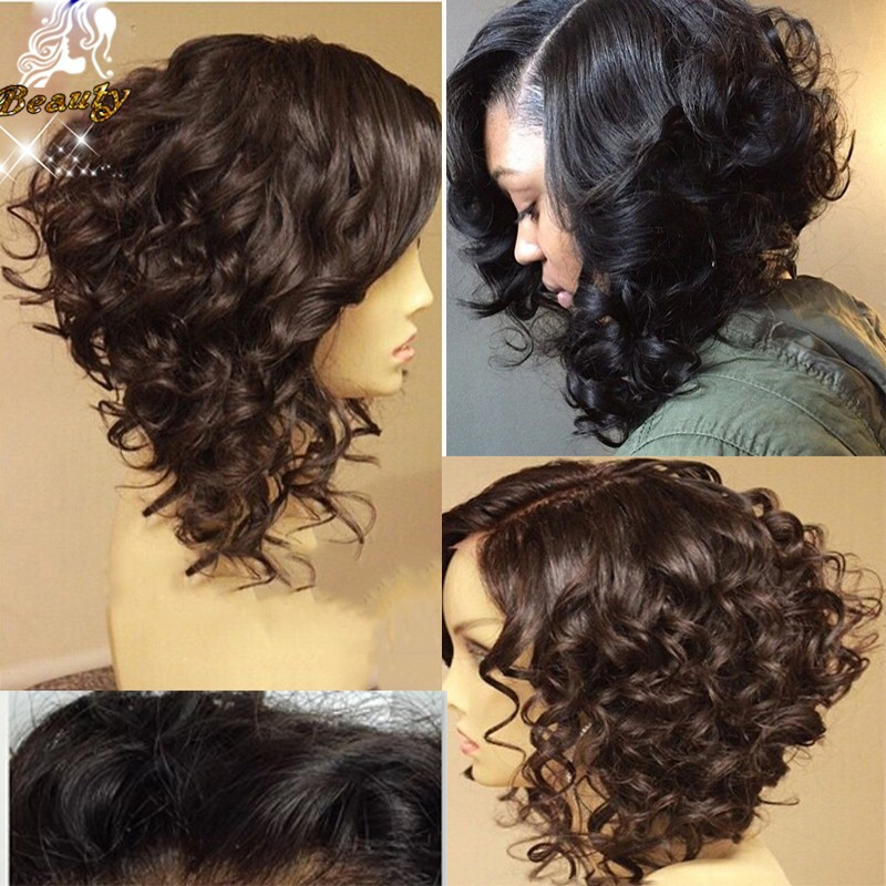7A Curly Full Lace Human Hair Bob Wigs Brazillian Virgin Hair Lace Front Wigs Short Glueless Full Lace Bob Wigs For Black Women(China (Mainland))
