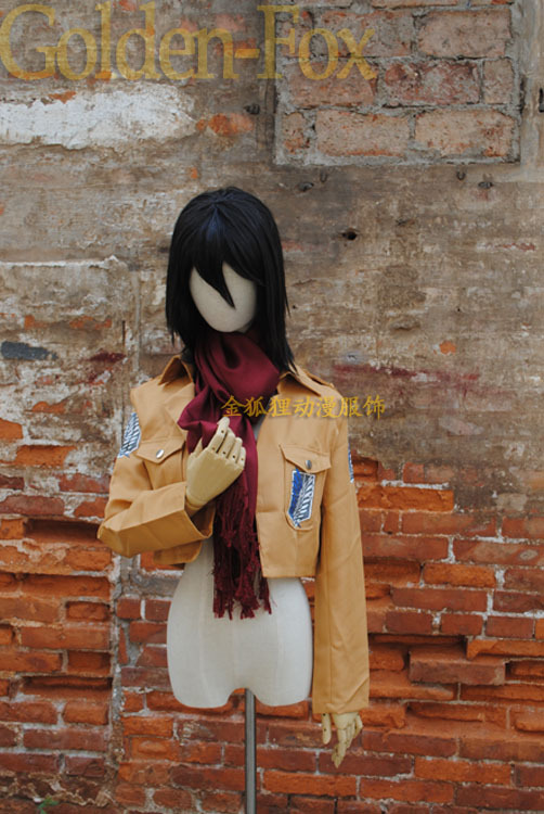 2015 Halloween Cosplay Costume Japanese Anime Attack on Titan Cosplay Kimono Costume Mikasa Ackerman Eren Coat(China (Mainland))