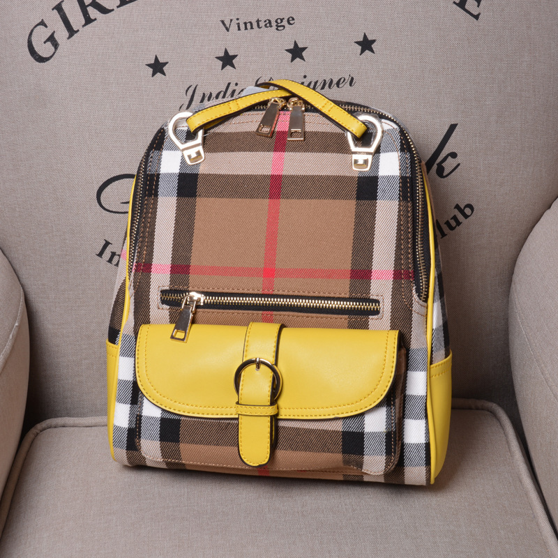 British style plaid bag women backpack canvas and genuine leather shoulder bag famous brand women s