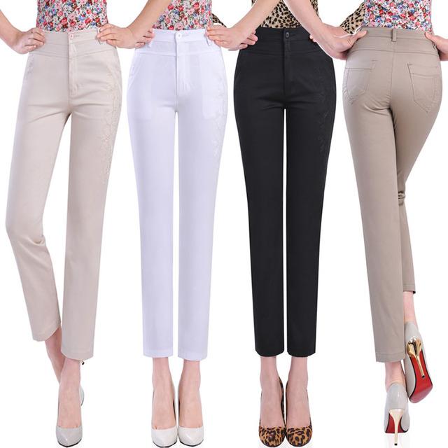 livraison gratuite femmes pantalons mode 2013 t haute taille lastique cheville longueur. Black Bedroom Furniture Sets. Home Design Ideas