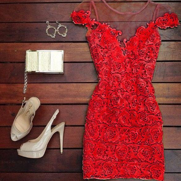 Red Lace Deep V Neck Bodycon Mini Dress Women Dresses Ladies Sexy Casual Evening Party Dress Fashion 2015 Vestido De Festa(China (Mainland))