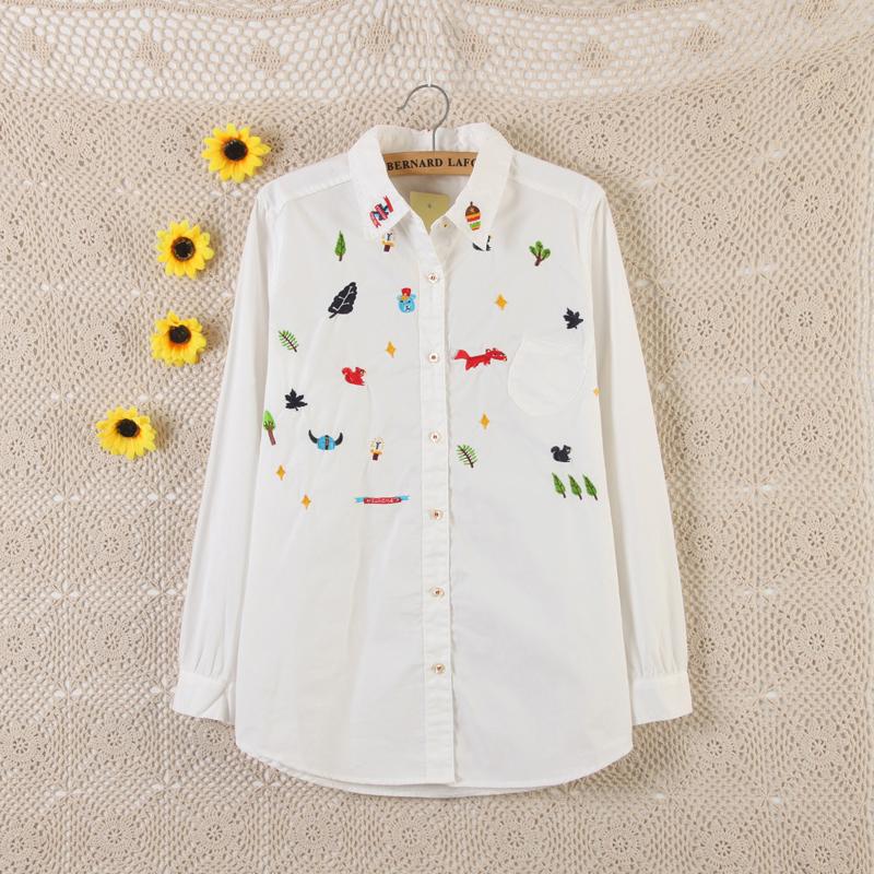 Mori Style Womens Cute Embroidered Shirt Cotton Long Sleeve Tree Animal Embroidery Cute White Shirt Female Sweet Japanese Style(China (Mainland))