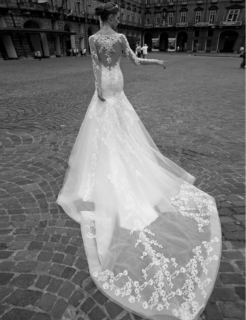 Mermaid Wedding Dress With Cathedral Train : Mermaid wedding dresses sexy backless cathedral train dress