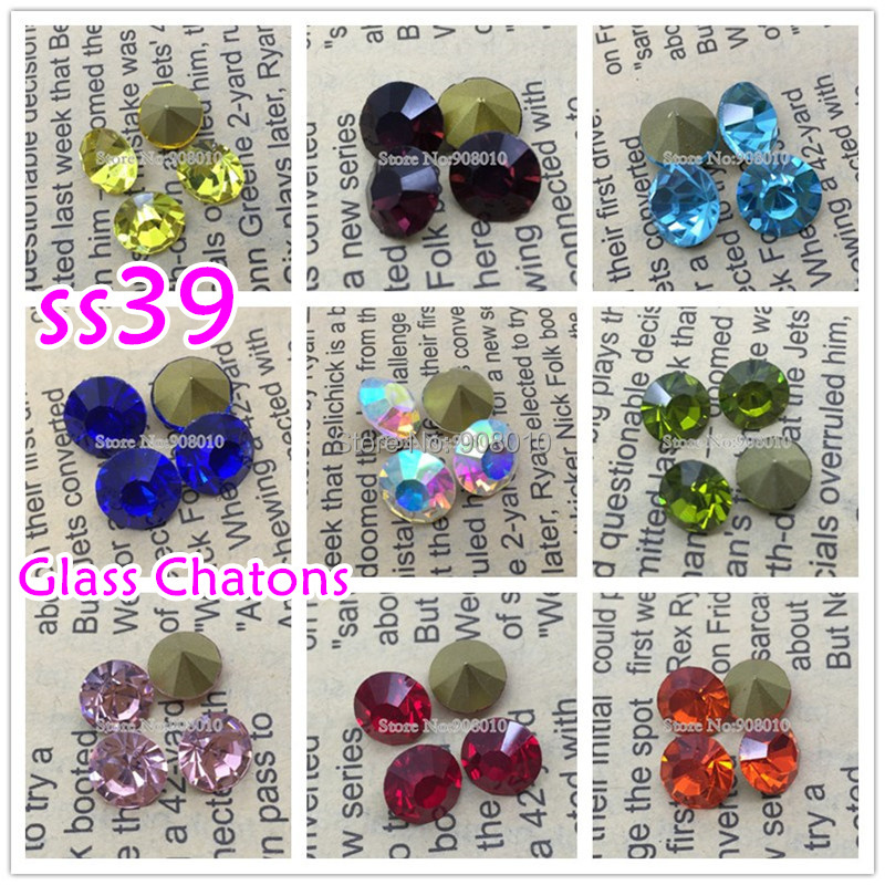 144pcs/lot ss39 pointed back Glass Crystal Chatons Beads Topaz,AB Many Colors Fancy Crystal Pointback For Jewelry Accessory(China (Mainland))
