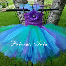 Cute Peacock Inspired Toddler Baby Girl Tutu Dress Purple Turquoise Pink Newborn Baby Infant Dress For Hallowen Birthday Party(China (Mainland))
