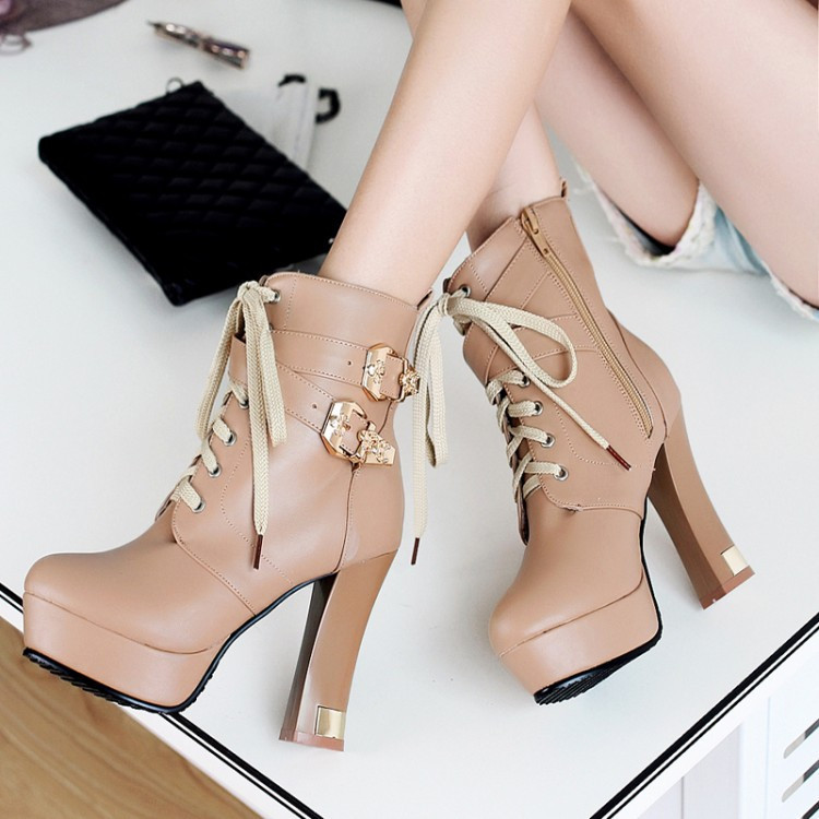 British Style New Autumn And Winter Women Fashion High Heels Ankle Boots Thick Lace-up Booties White Black Yellow