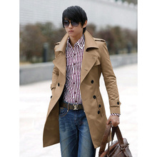 Free Shipping New Men's Stylish Double Breasted Long Trench Coat Men Overcoat Winter Long Jacket For Men Plus Size M~XXXL(China (Mainland))