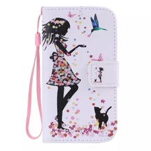 For Samsung Galaxy A5 Galaxy A500 A5000 Cat Women Bird Flip Leather Stand Wallet Case Cover With Lanyard Strap