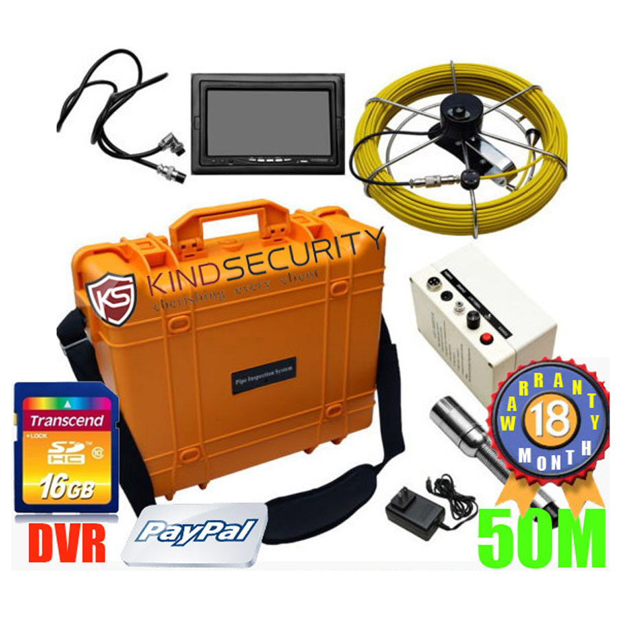 """UnderWater Sewer Drain Wall Snake Pipe 50M Pipeline Endoscope Inspection Camera 7""""Monitor Pipeline Inspection Camera(China (Mainland))"""