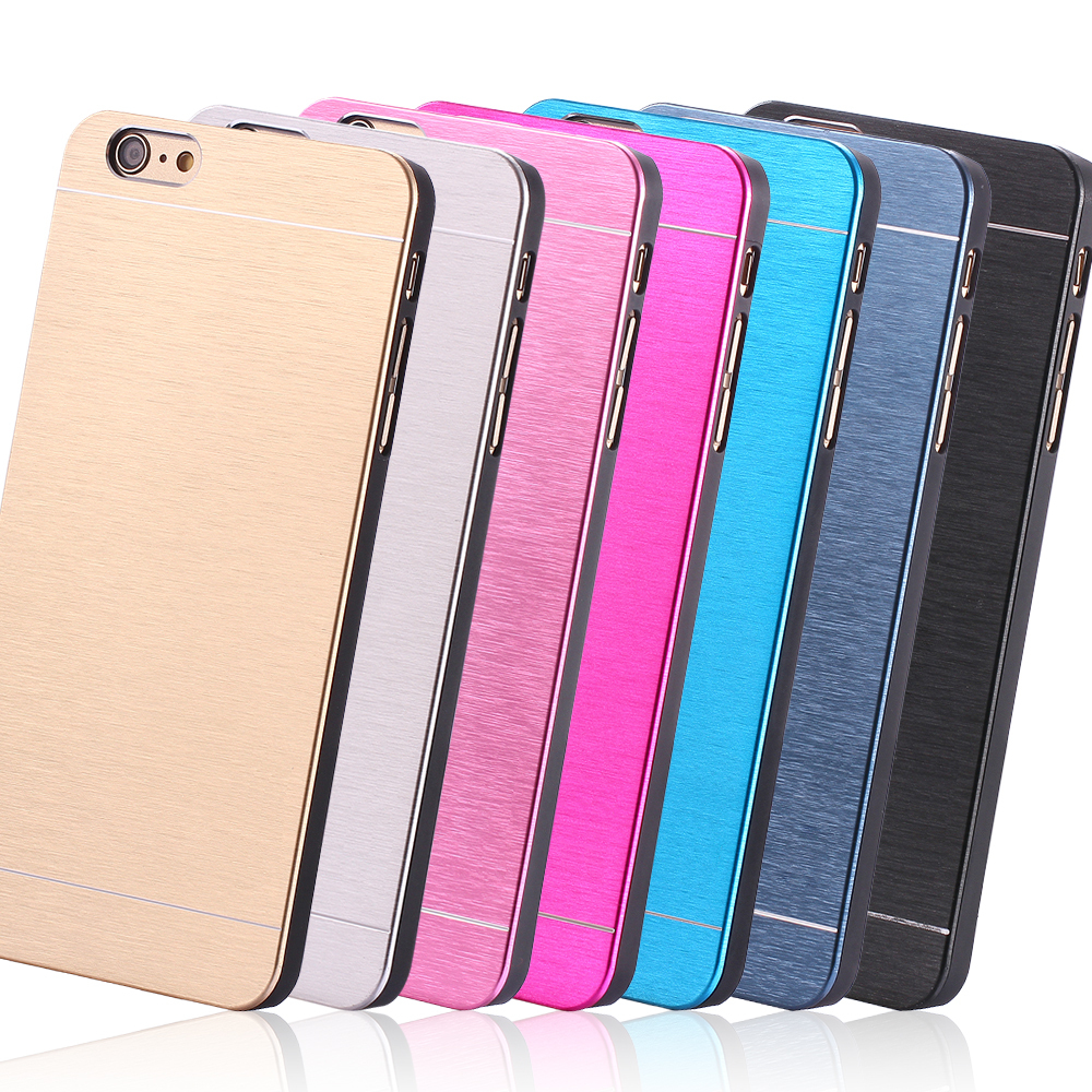 i6 4.7/Plus New Deluxe Aluminum Hard Metal Back Case For Apple iPhone 6 4.7 For iPhone 6 Plus 5.5 Cool Slim Back Cover With Logo(China (Mainland))