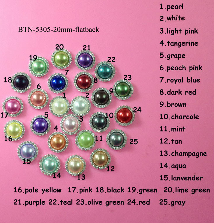 Free shipping 20mm pearl crystal rhinestone button embellishment flatback mix colors 20PCS/lot(BTN-5305)(China (Mainland))