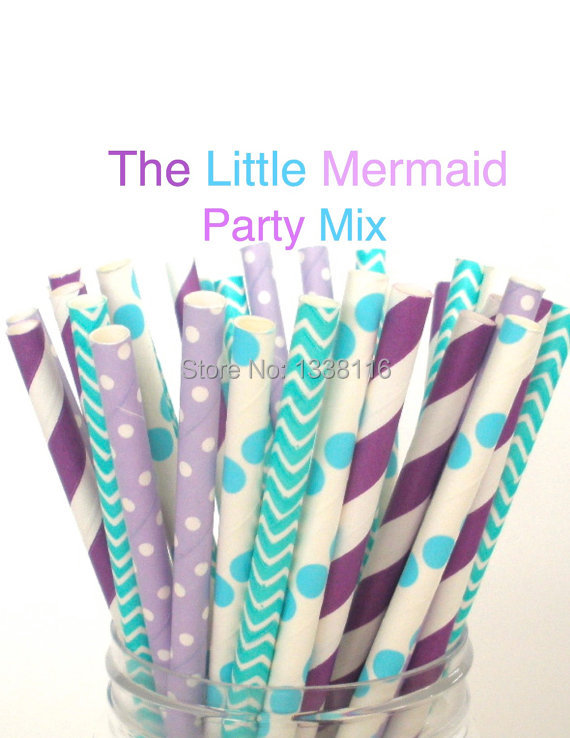Free Shipping 200pcs The Little Mermaid Mix Paper Drinking Straws,Party Supplies Paper Drinking Straws wholesale