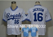 Kansas City Royals Jersey #16 Bo Jackson Jersey White/Light Blue Retro Baseball Jersey, Embroidery logo,Cheap Wholesale(China (Mainland))