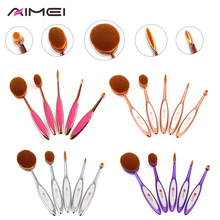 AIMEI 5 Pcs Makeup Brushes Soft Toothbrush Heads 4 Color Oval Makeup Brush Powder Foundation Brush Cosmetics Makeup Tools(China (Mainland))