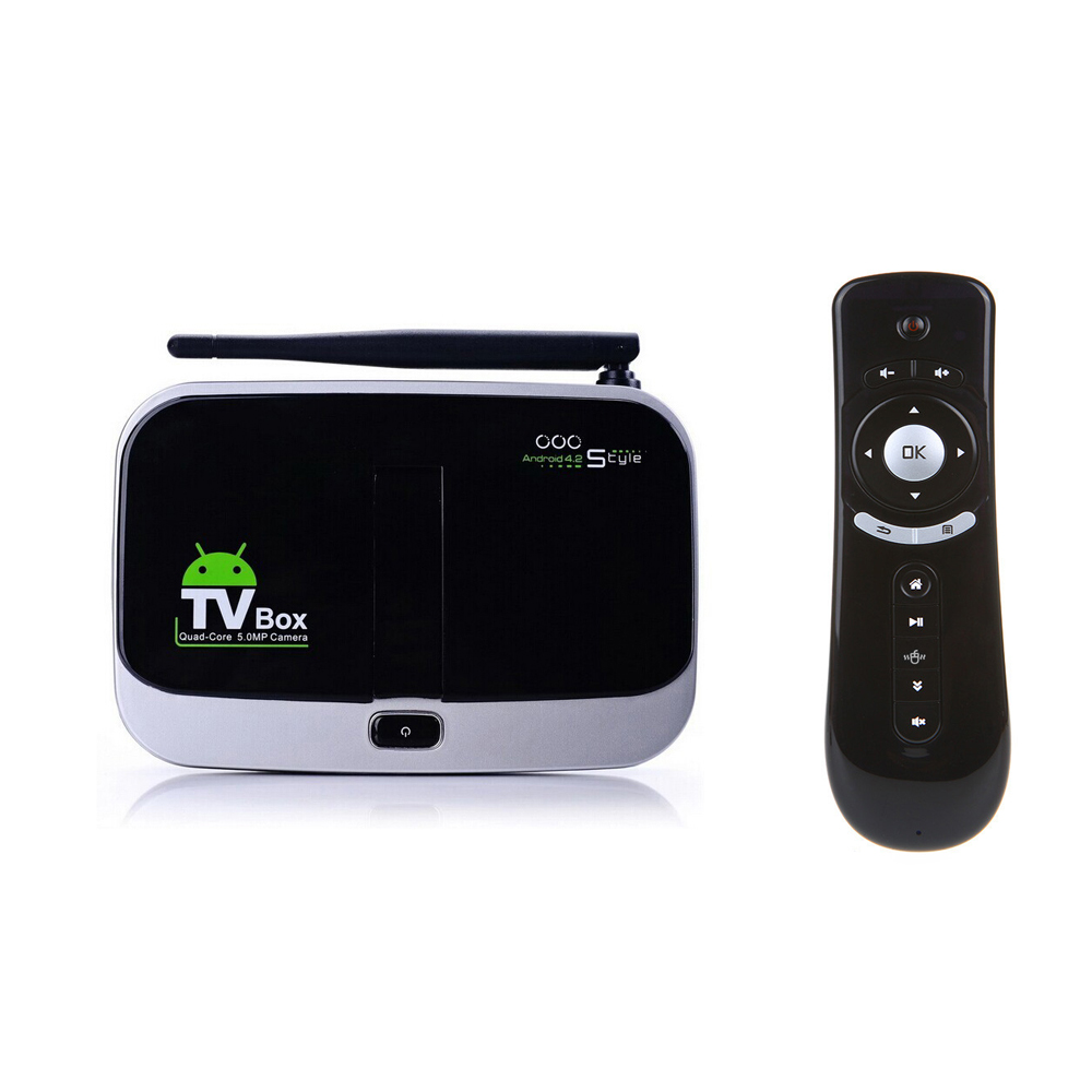T2 air mouse + Built in 5.0MP Camera with Mic Bluetooth Android Quad Core TV Box A31S Andriod 4.4.2 2GB/16GB Skype TV Box CS918S(China (Mainland))