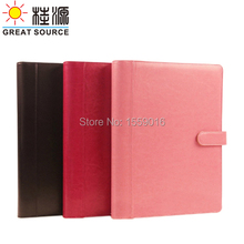 A4 magnet hasp 4 rings leather ring binder folder with 8 digits calculator(China (Mainland))