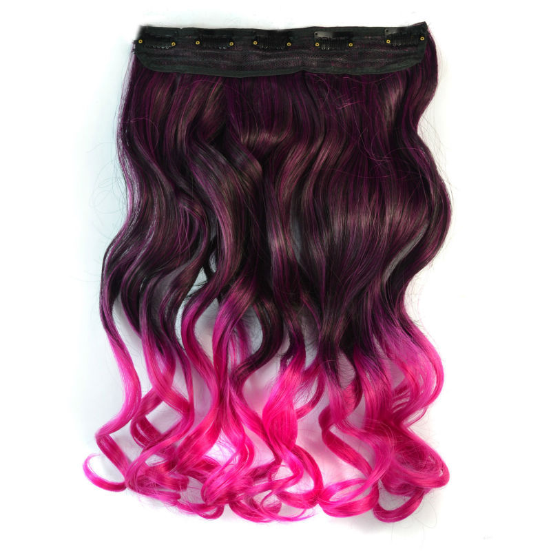 18 inch Synthetic Hair Piece Ombre Dip Dye Party Salon Clip Curly Extensions Black + Rose red - liao zhaofu's store