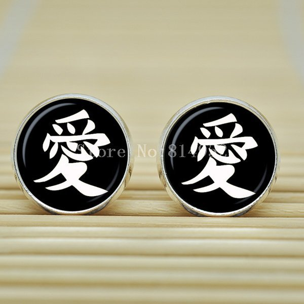 10pair Japanese characters love Earrings jewelry  glass Cabochon Earrings B2129(China (Mainland))