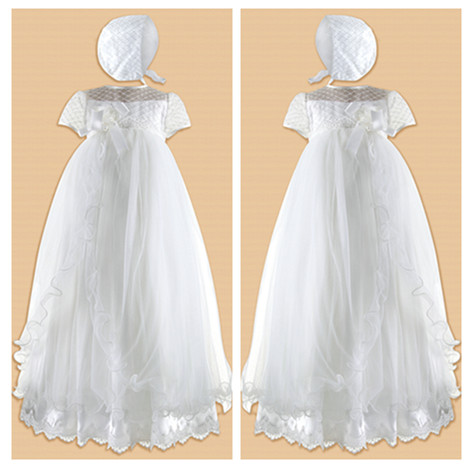 Stunning Soft Baby Girl White/Ivory First Communion Dresses Christening Gown Baptism Dress With Bonnet(China (Mainland))