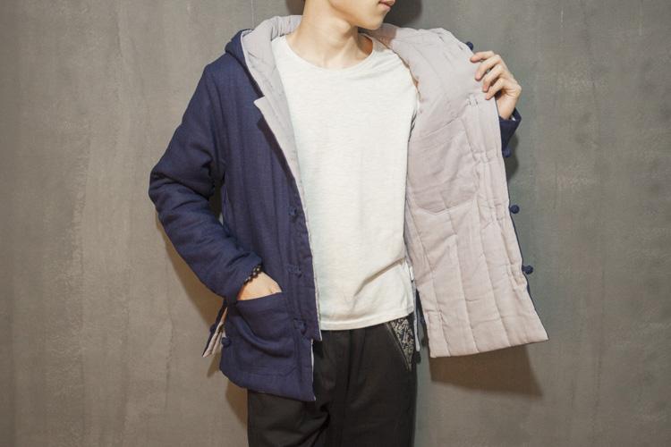 Скидки на Китай стиль хлопок белье зима мужские с капюшоном пальто ретро случайный утолщаются хлопка ватник мужской парки верхней одежды