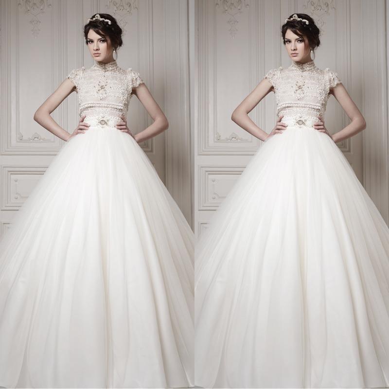 2014 high collar short sleeve ball gown wedding dress 2014 for Wedding dress high collar