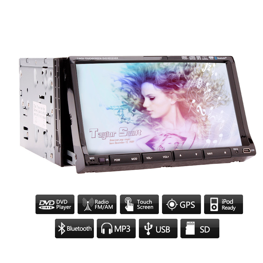 GPS Navigation Double 2 Din In Dash 7'' Car Stereo Radio DVD Player BT Ipod GPS Map HD Touchscreen USB/SD FM AM Sub Auto Mic(China (Mainland))