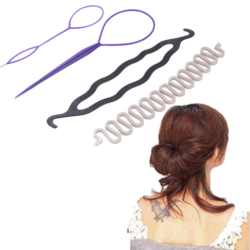 Hot Sale 3 Kinds Magic Hair Styling Accessories Set Hair Pin Hair Bun Maker Hair Braiding Twist Styling Tool for Women(China (Mainland))