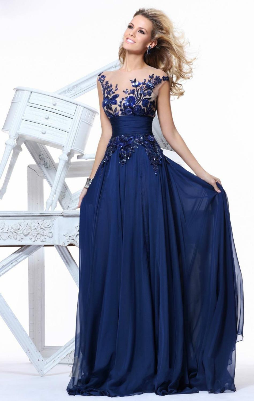 Vestidos De Fiesta 2014 New Elegant Royal Blue Chiffon Appliques A-line High Empire Floor-length Tarik Ediz Evening Dress - Honey Baby store