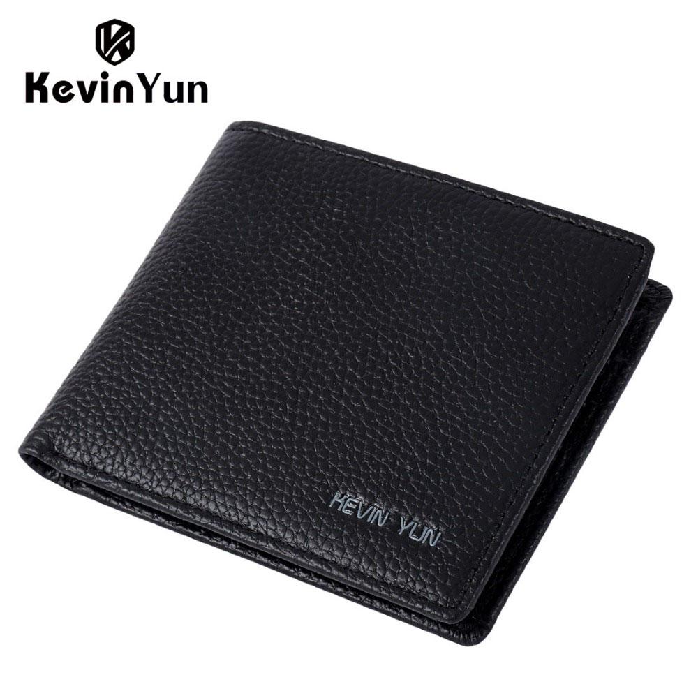 KEVIN YUN Designer Brand Men Wallet Short Genuine Leather Wallet Slim Pocket Wallet Pusre(China (Mainland))