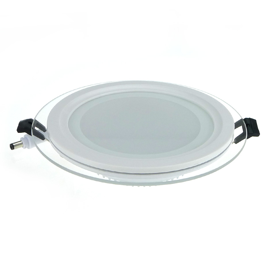 buy dimmable led panel light round glass panel downlight 6w 12w 18w ceiling. Black Bedroom Furniture Sets. Home Design Ideas