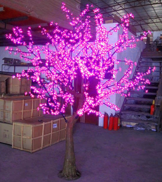 Led tree light cherry tree 1800 lamp 2.5 meters high artificial tree light decoration lamp(China (Mainland))