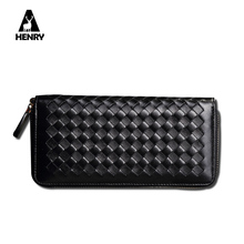 2016 New Fashion Women Wallet Leather Genuine Long Designer Wallet Women Luxury Brand Zipper Coin Pocket Grid Lady Handbag