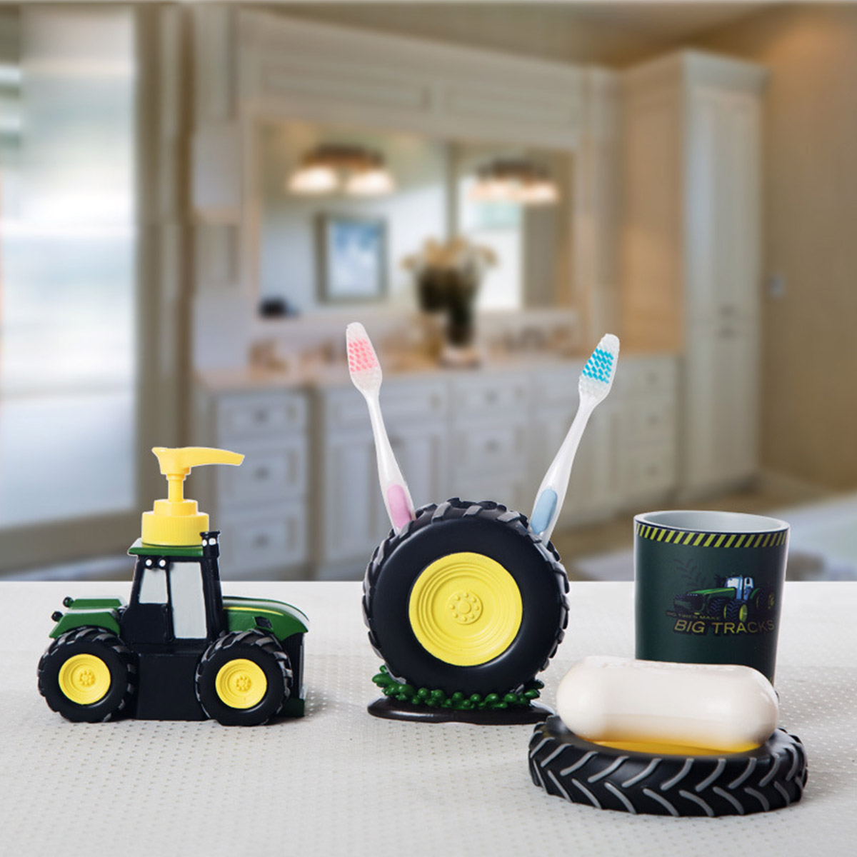 4 Pcs Kid Cartoon Bathroom Accessories Cute Tractor Bathroom Accessory Set Resin Wash Cup