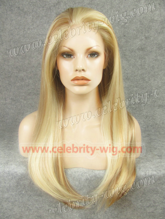 N2-613/27HR/30 retial long light blonde stock new style synthetic silky straight  lace front wig Free shipping <br><br>Aliexpress