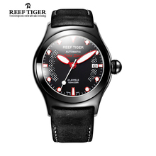 Reef Tiger/RT Mens Casual Sport Watches with Date Dark Brown Calf Assolutamente Leather Luminous Automatic Wrist Watches RGA704