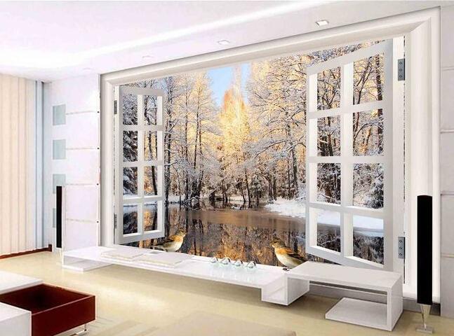Custom 3 d papel pintado estereosc pico ventana tipo for Murales de papel pintado