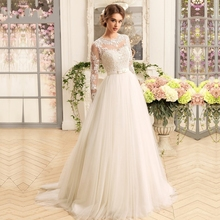 Buy Vestido de Noiva A-Line Cheap Wedding Dress 2017 Lace Appliques 3/4 Sleeves Robe de Mariage Sweep Train China Bridal Gowns for $215.00 in AliExpress store