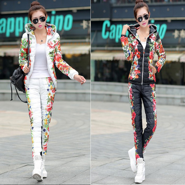 Winter Duck Down Jacket Women Suit 2014 New Spring Autumn Plus Size Floral Printed Slim Casual Parka (Coat+Pants) Set free ship(China (Mainland))