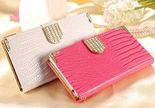 S5 Mini Shining Wallet Leather Case For Samsung Galaxy S5 mini G800 Card Holder Rhinestone Flip