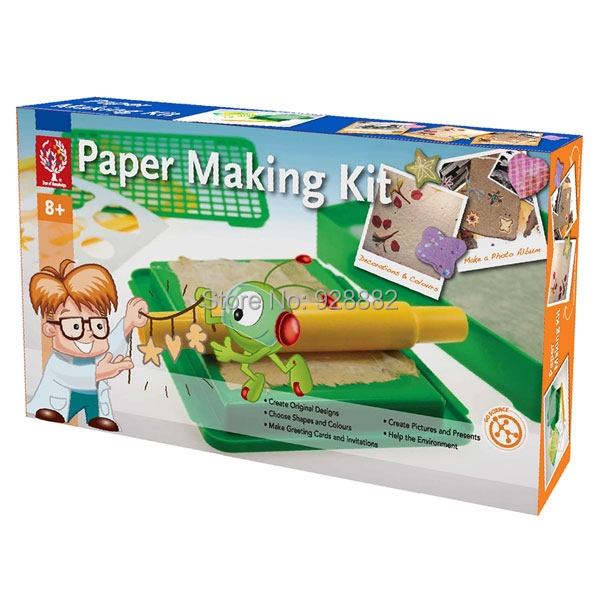 EDU-Science Toy Paper Making Kit Recycling Paper to Produce Album, Storage Box, Greeting Cards, Envelopes and Picture Frames(China (Mainland))