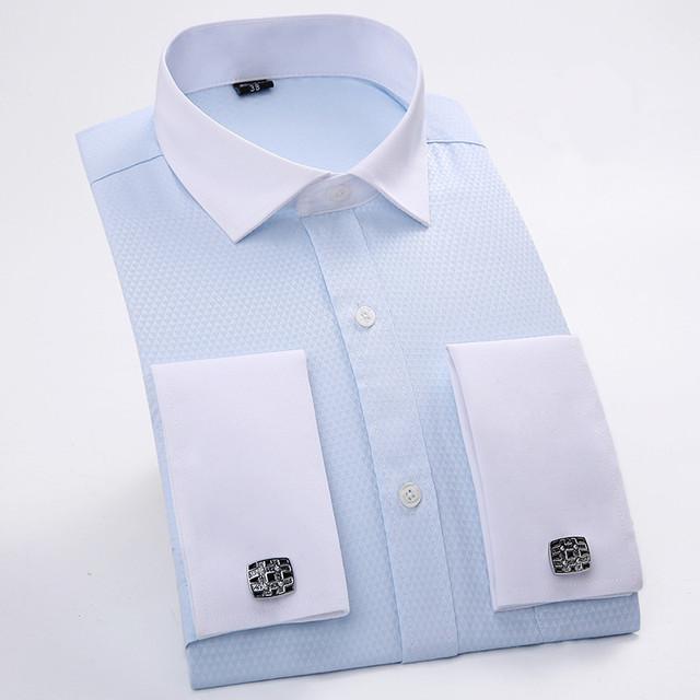 Мужская Манжетой Рубашки Синий Белый С Длинным Рукавом Бизнес Повседневная Рубашка ...