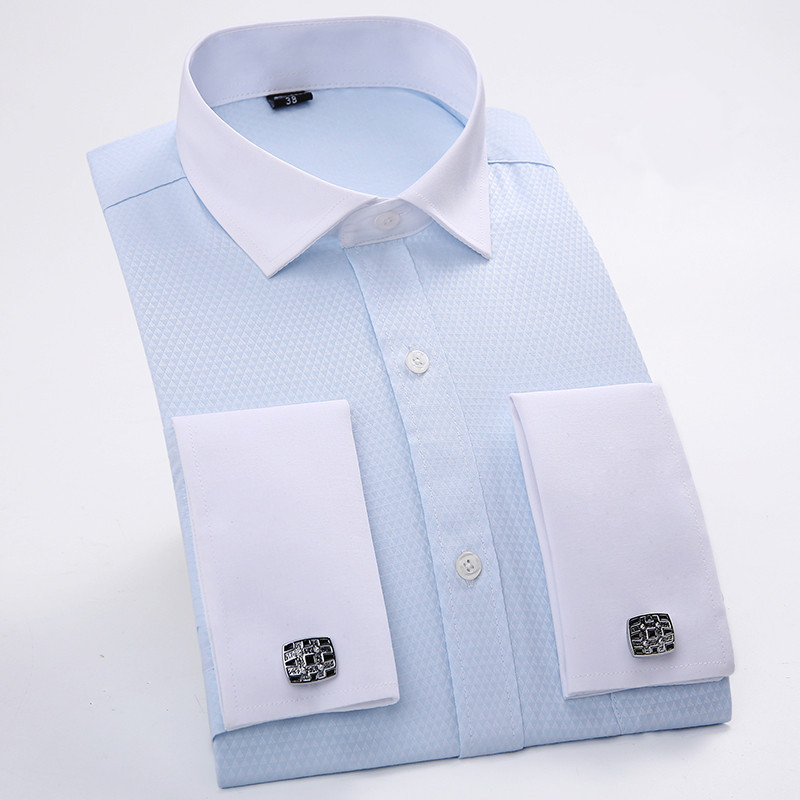Men 39 s dress shirts french cuff blue white long sleeved White french cuff shirt slim fit
