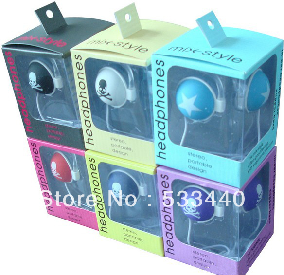 PuQiBuo Brand PQN-16 Mix Style Headphones Stereo Portable Design Star / Bone Headphone retail Box set(China (Mainland))