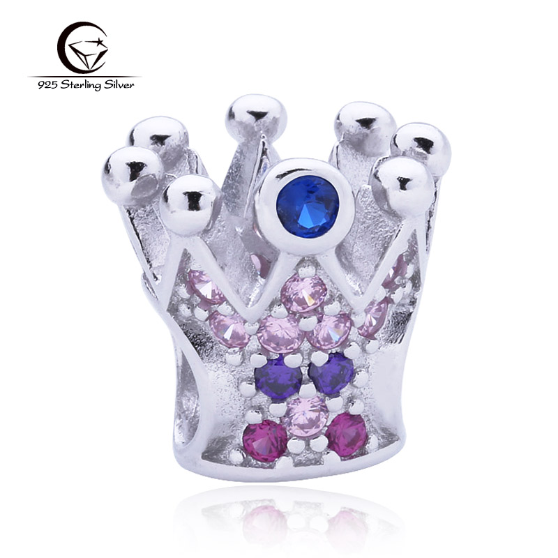 Hot Selling Classic Religious Crown Charms Pave Multicolor CZ Diamond 925 Sterling Silver Beads Fit Pandora Bracelet DIY Jewelry(China (Mainland))