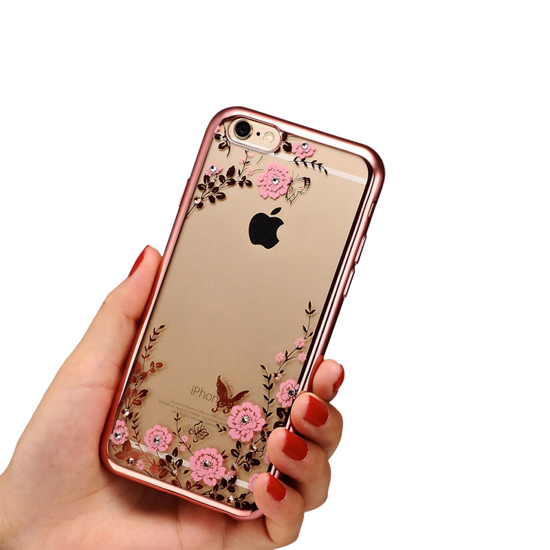 luxury secret garden flowers rhinestone phone cases for iphone 7 6 6s plus 5 5s se 4 4s rose. Black Bedroom Furniture Sets. Home Design Ideas