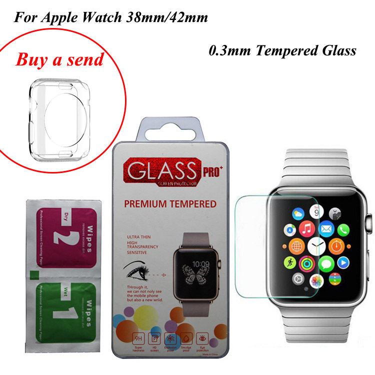 Clear TPU Cover Case Protecter + Tempered Glass Protecter film for Apple Watch iwatch 38mm 42mm(China (Mainland))