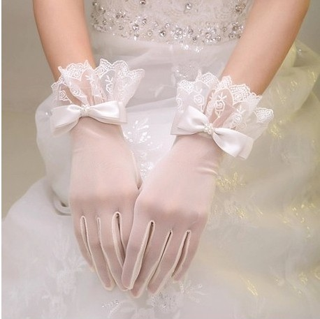 2016 Bridal перчатки с бантом Usuginu перчаток короткое свадебное перчатки брак G033