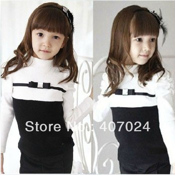 Fashion Children clothing Long pleated sleeve cotton t shirts girl baby princess shirt Contrast color clothes free ship 610215J