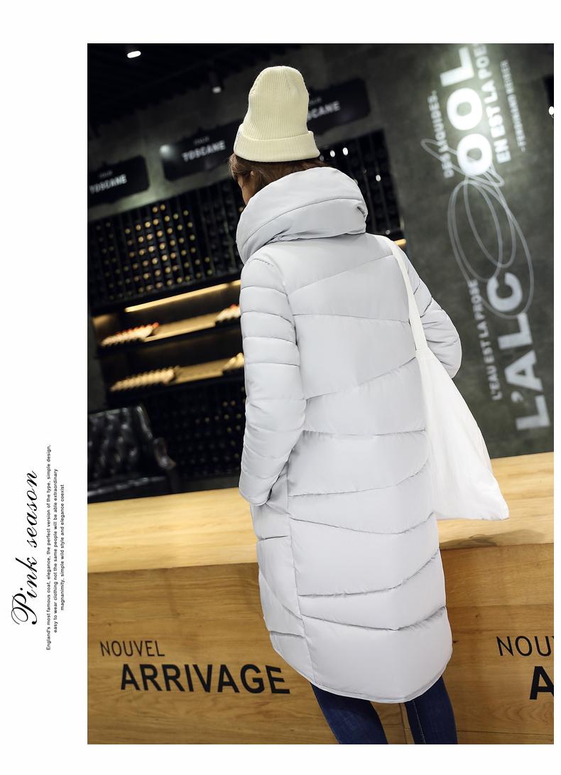 Скидки на 2016 Зимняя Мода Длинные Пальто Тонкий Утолщенной Водолазка Теплая Куртка Хлопка Мягкий Молния Плюс Размер Пиджаки Casacos Бесплатная Доставка