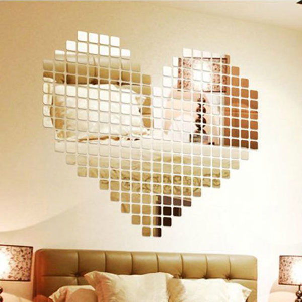 Amazing Luxury 100pcs 2x2cm Shiny Acrylic 3D Wall Sticker Mirror Effect TV Wall Living Room Home Decor DIY(China (Mainland))